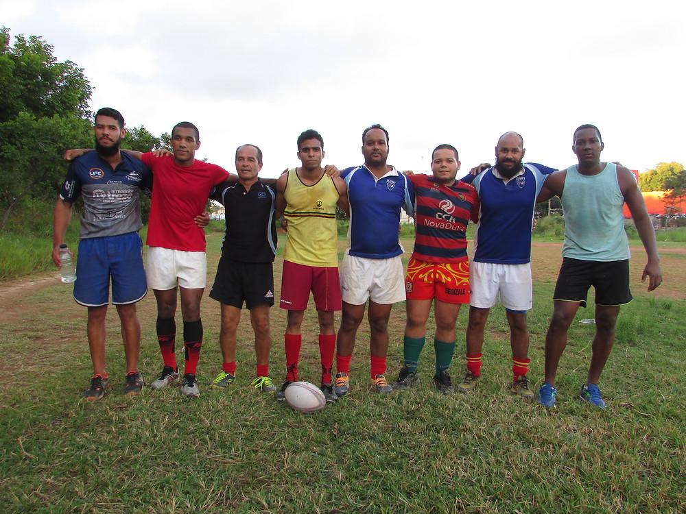 Parte do elenco do Galícia Rugby