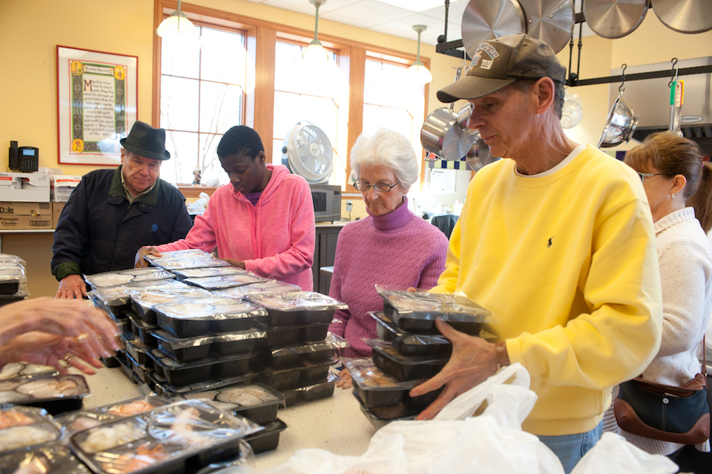 Volunteers Help to Prepare Meal
