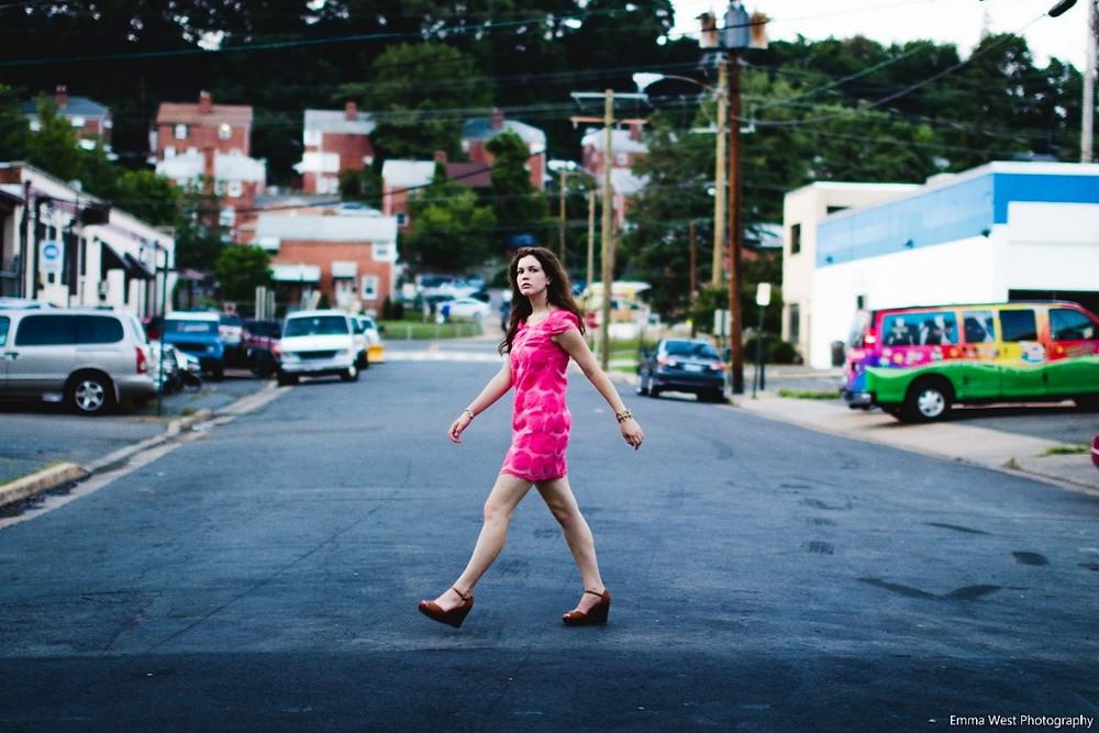Abby walking across the street
