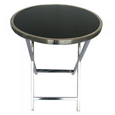 Chrome and black glass side table, Balck steel bedside cabinet, shop D for Design