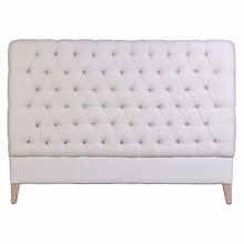 Deepbuttoned linen headboard, shop D for Design