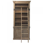 Wooden bookcase with library ladder, Balck steel bedside cabinet, shop D for Design