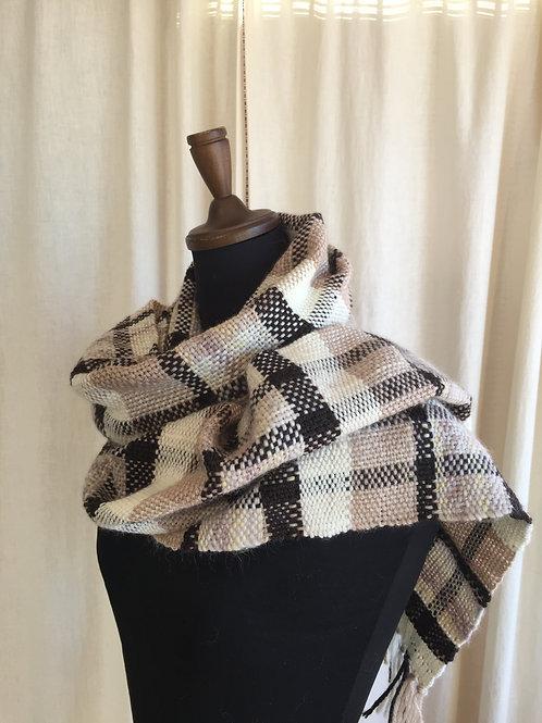 カシミヤ混ウール100%手織りマフラー