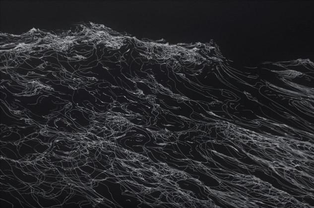 """Encre argent sur papier canson 50 x 70 cm 700 E """"La guerre des vents"""" Franco Salas Borquez"""