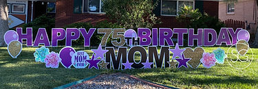 Happy 75th Mom in purple and gold