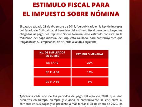 Boletín Informativo: Estímulo Fiscal para el Impuesto sobre Nómina