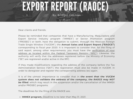ANNUAL SALES AND EXPORT REPORT (RAOCE)