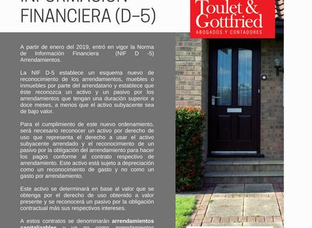 Boletín Informativo: NORMA DE INFORMACIÓN FINANCIERA (D–5)