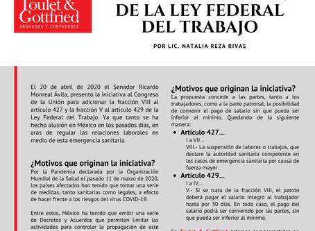 Boletín Informativo: INICIATIVA DE ADICIÓN A LOS ARTÍCULOS 427 Y 429 DE LA LEY FEDERAL DEL TRABAJO