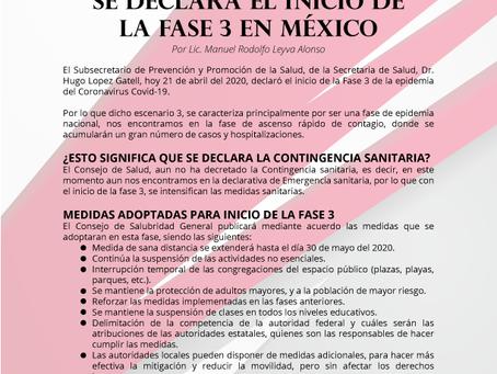 Boletín Informativo: SE DECLARA EL INICIO DE LA FASE 3 EN MÉXICO