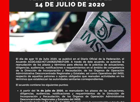 🚨🚨 IMSS REANUDA PLAZOS Y TÉRMINOS A PARTIR DEL 14 DE JULIO DE 2020 🚨🚨