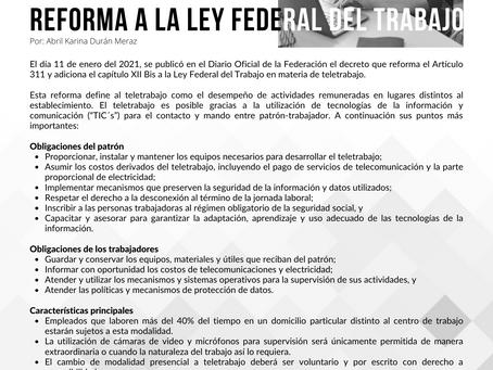 📣 REFORMA A LA LEY FEDERAL DEL TRABAJO