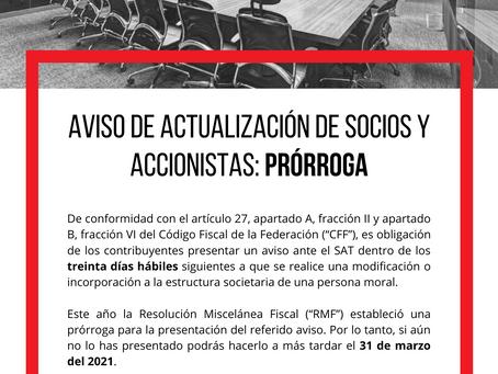 ⚠AVISO DE ACTUALIZACIÓN DE SOCIOS Y ACCIONISTAS: PRÓRROGA
