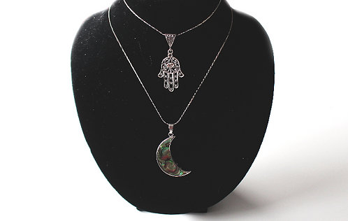 Silver Hamsa Necklace / Iridescent Moon Necklace