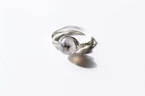 'Lilac Eye' Silver Wire wrap Ring