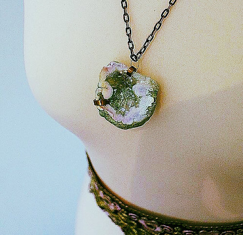 Mermaid Gypsy Unique Crystal Geode Necklace