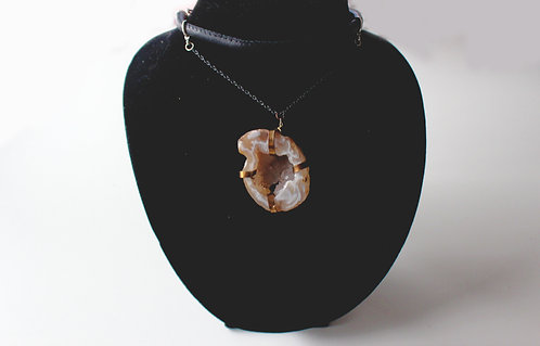To the pit of my soul -Unique Geode Leather Choker