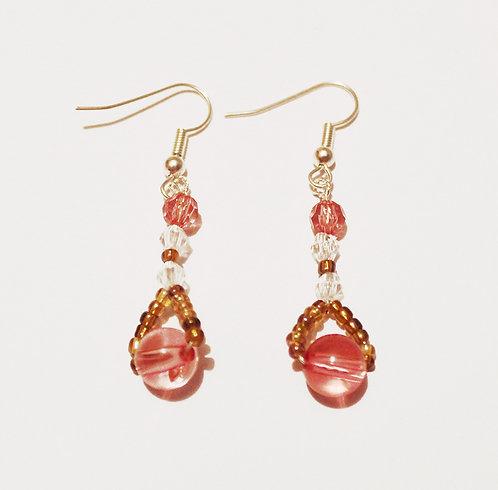 Pink Spherical Pendant Earrings