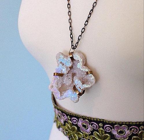 Ghost Gypsy Encased Unique Crystal Geode Necklace