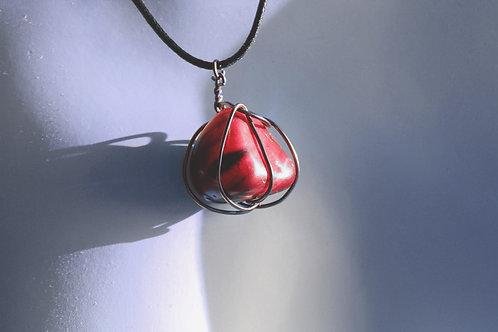 Cherry Pink Bronze Stone Wrap Pendant