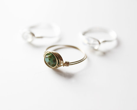 Green Tiger Agate Wire Wrap Ring