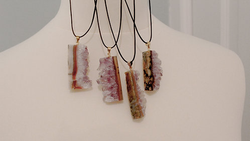 Amethyst Slice Crystal Necklace