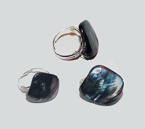 Iridescent Midnight Blue Silver Ring