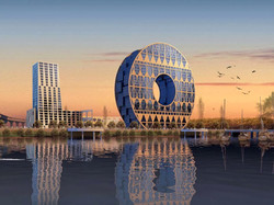 Modern Building coin shaped