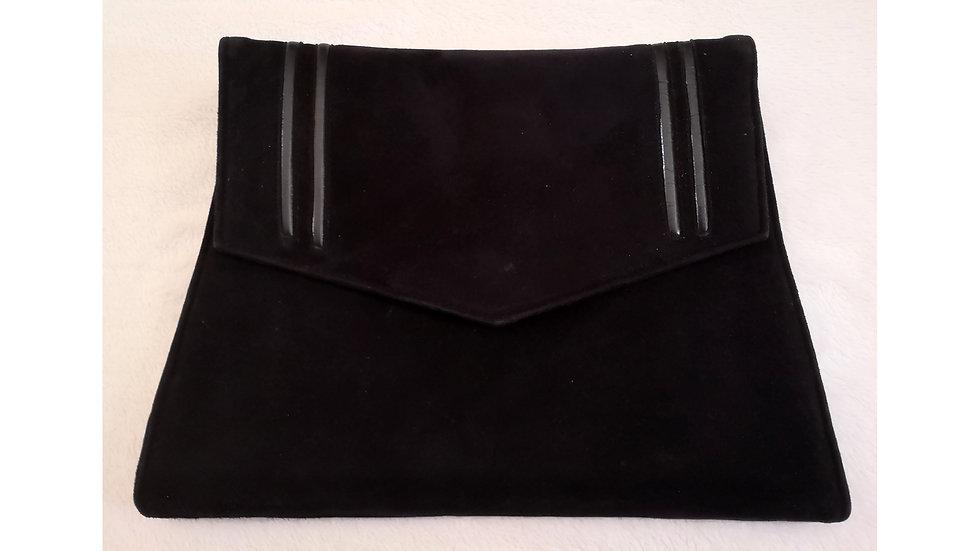 Pochette noire vintage en cuir et peau