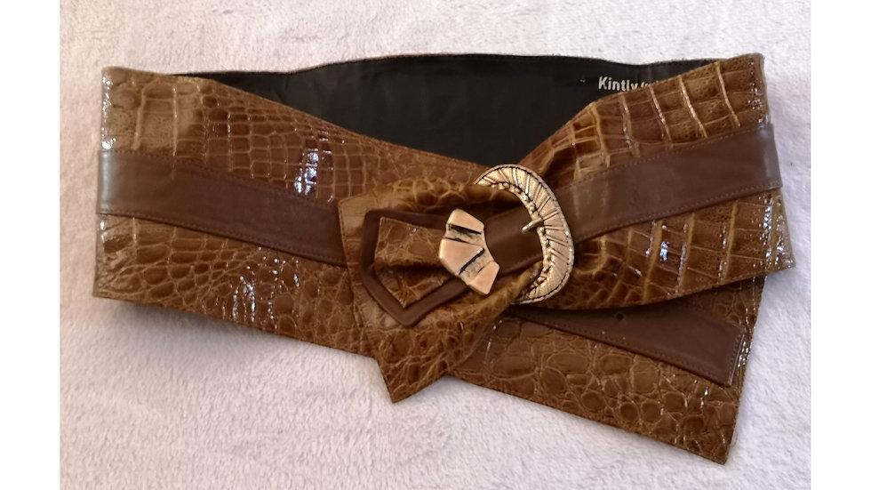Grosse ceinture vintage en cuir camel