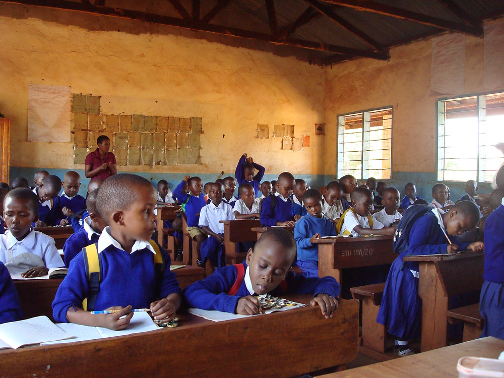 African children in a primary school classroom
