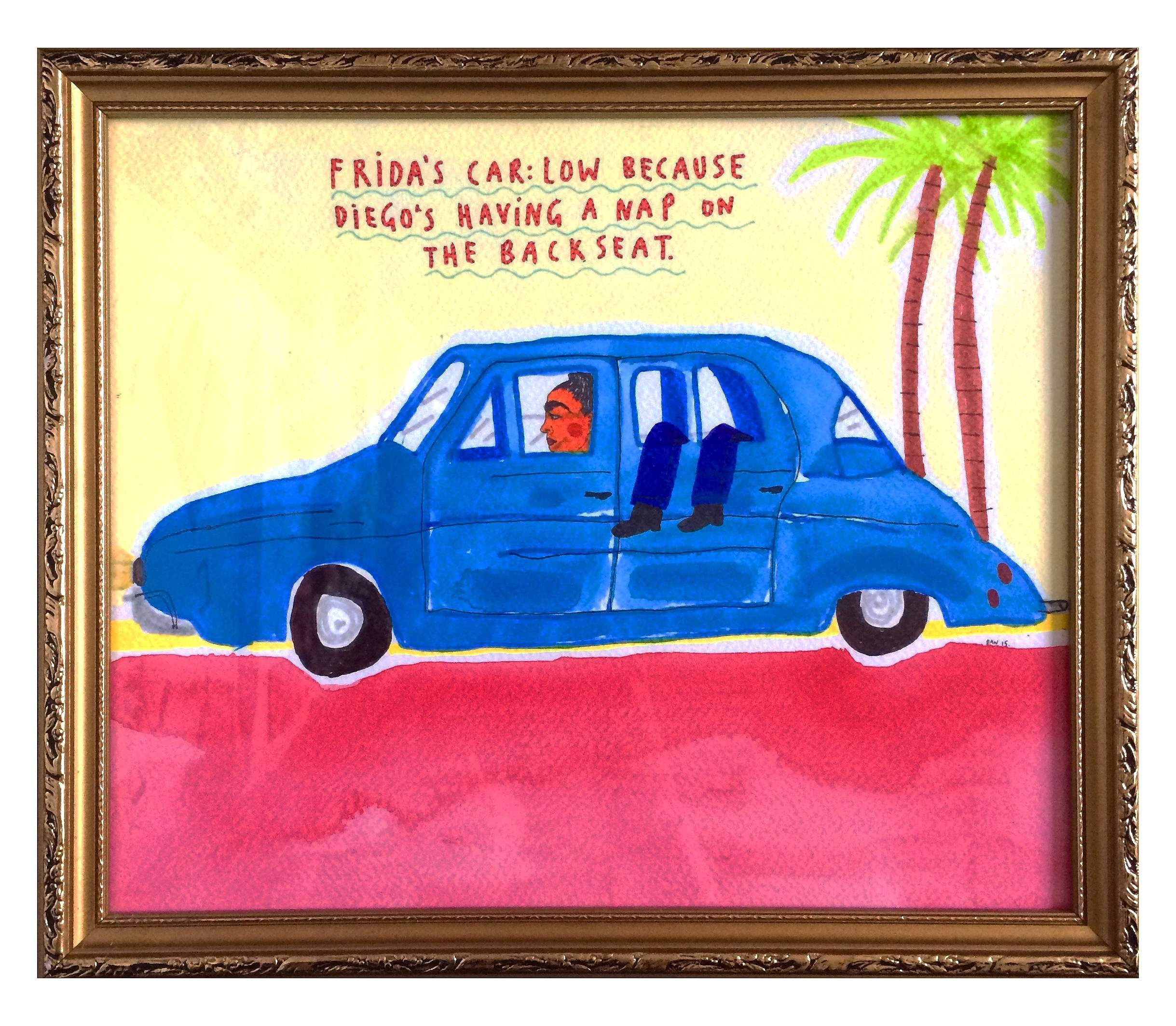 Frida's car low because Diego's having a nap on the backseat. 29 x 33 cm.jpg