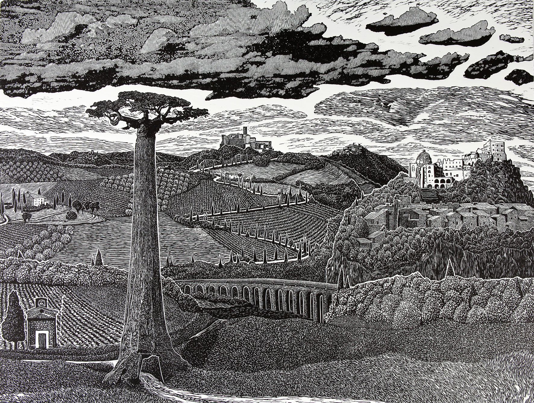 Day Watchers. Linocut. 76cm-56cm