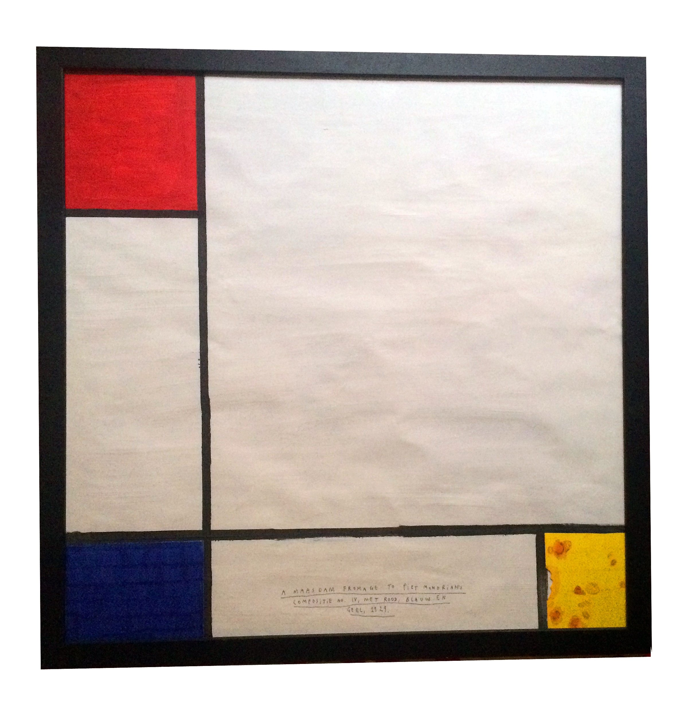 A maasdam fromage to Piet Mondrian's 'Composite No. IV, Met Rood, Blauw En G