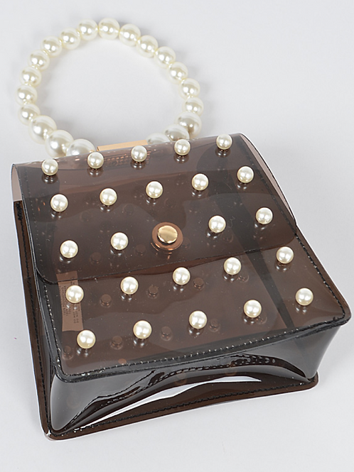Clear Bag w/ Pearls- (Black)