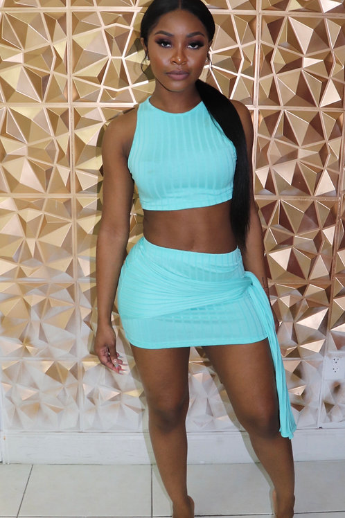 All Tied Up Skirt Set- Turquoise