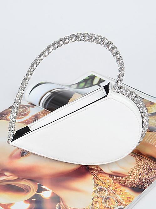 Heart Diamond Clutch (White)
