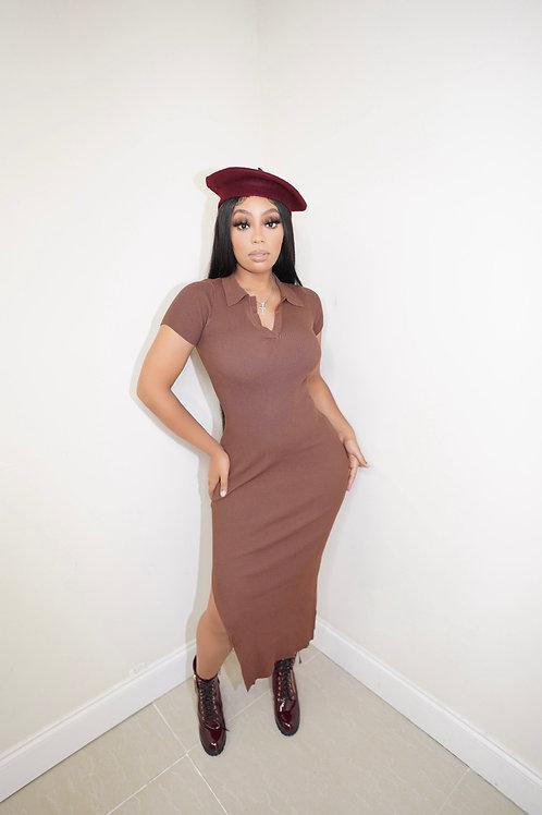 Lauren Spilit Midi Dress(Chocolate)