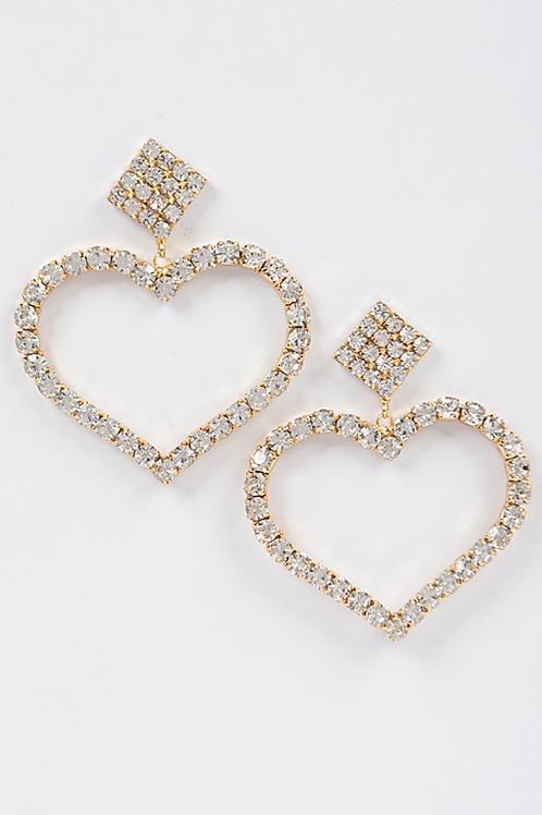 Rhinestone Heart Daggling Earring-Gold