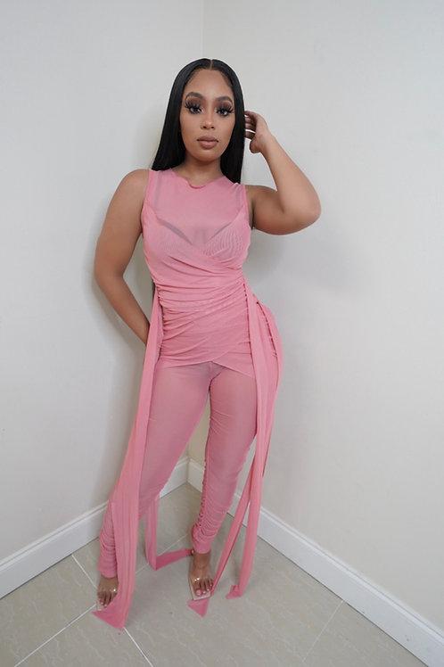 Emilia mesh Jumpsuit (Pink)