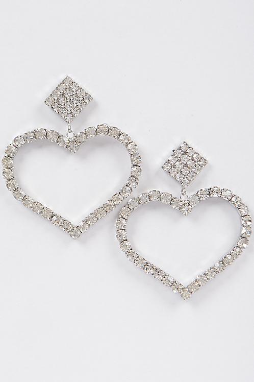 Rhinestone Heart Daggling Earring-Silver