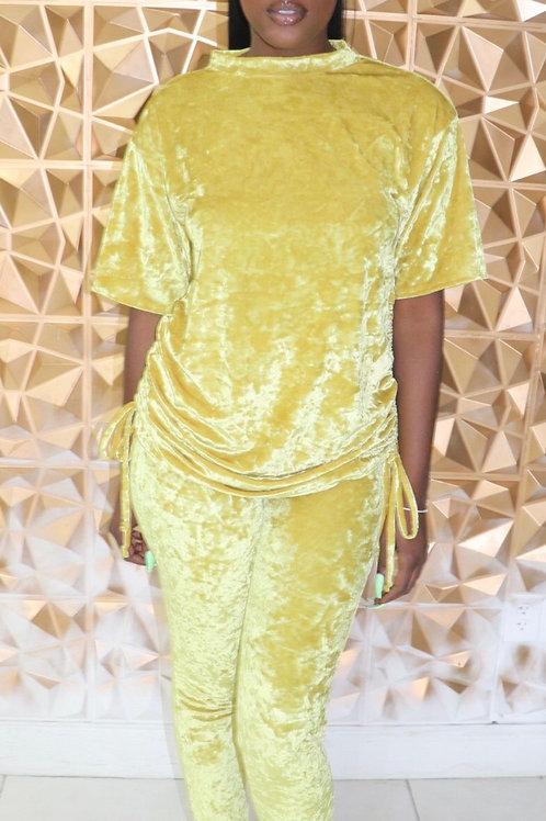 Krushed Velvet Set-Yellow