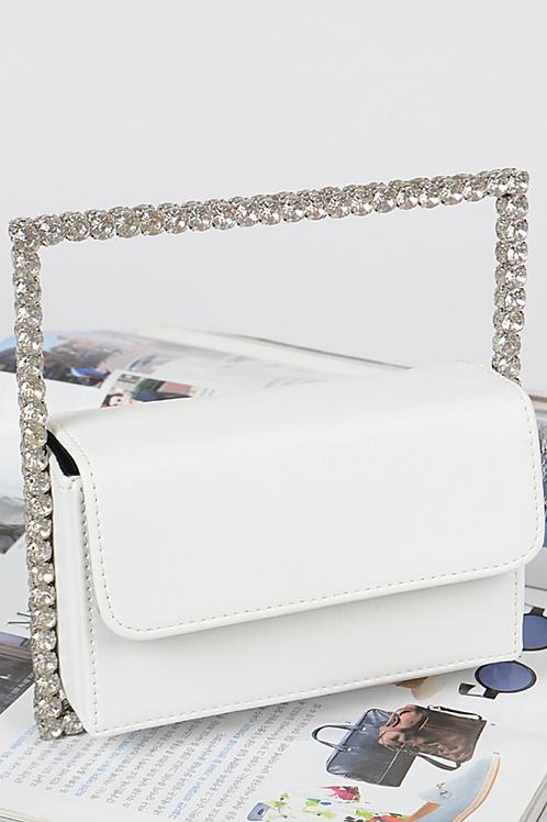 Rectangle Diamond Clutch (White)