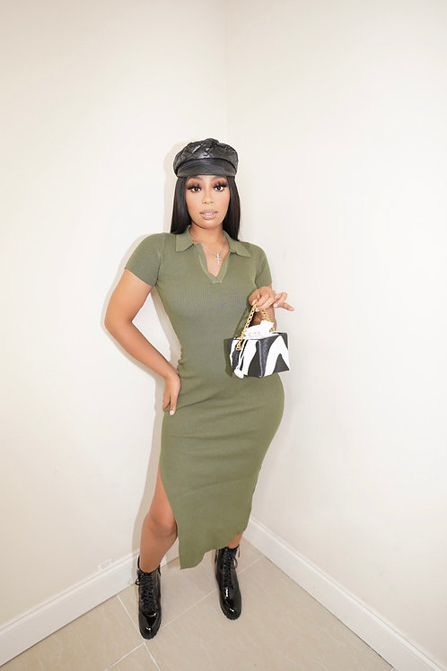 Lauren Spilit Midi Dress(Olive)