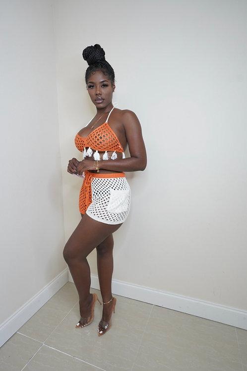 Anika Crochet Shorts Set(Orange/White)