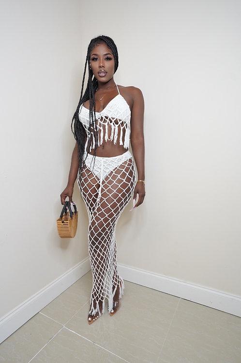 Daisia Crochet Skirt Set (white)