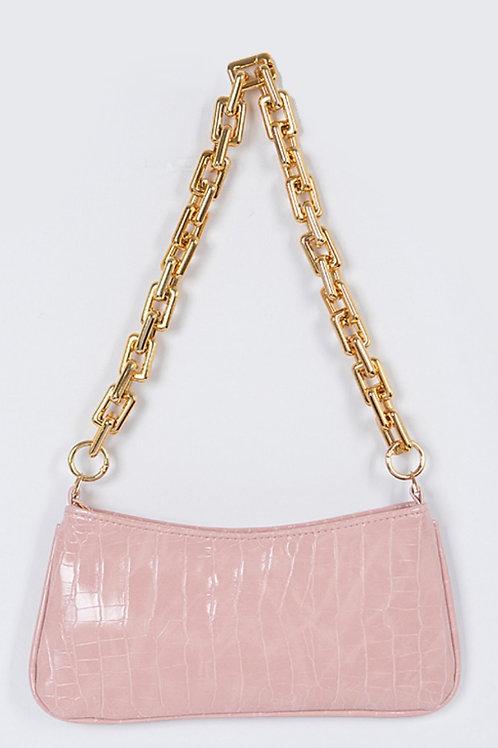 Chain Croc Bag (Pink)