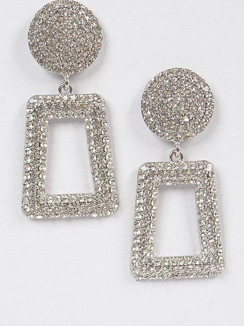 Rhinestone Back Drop Earring-Silver