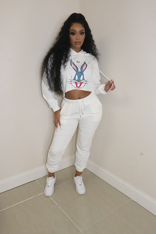 Bunny  Sweater Set (White)