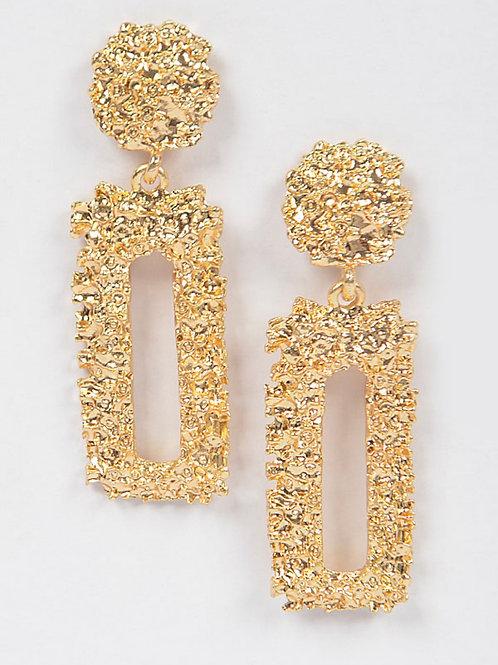 Rectangle Matallic Earrings- Gold